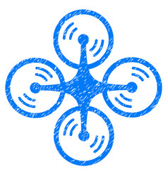 Flying quadcopter grunge icon vector