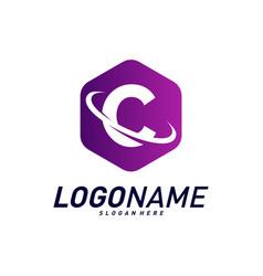 Font with planet logo design concepts letter c vector