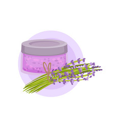 glass jar of lavender gel or lotion and bunch of vector image