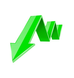Green 3d down arrow financial graph vector