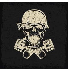 grunge biker theme label with pistons snake and vector image