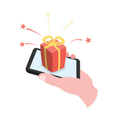 hand holding smartphone with gift box vector image