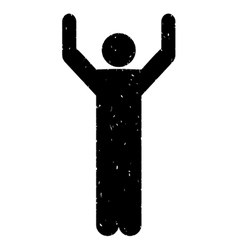 Hands Up Pose Grainy Texture Icon vector image