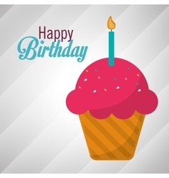 Happy birthday pink cupcake candle vector