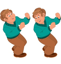 Happy cartoon man standing and holding vector