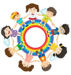 Happy children holding hands around rainbow circle vector