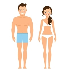 Healthy young man and woman vector image