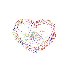 Heart confetti isolated white background fall vector