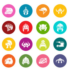 Helmet icons set colorful circles vector