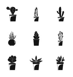 Home cactus icon set simple style vector