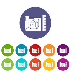house plan icons set color vector image