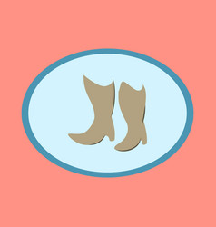 Icon in flat design fashion footwear women boots vector
