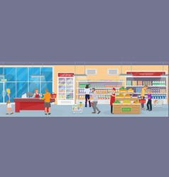 Interior of a modern supermarket with goods vector