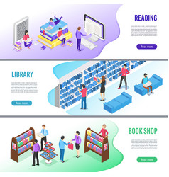 isometric read book banner online library books vector image