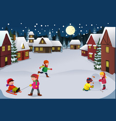 Kids playing in a winter wonderland vector