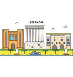 Lebanon outline city skyline linear vector