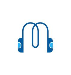 letter m music logo vector image