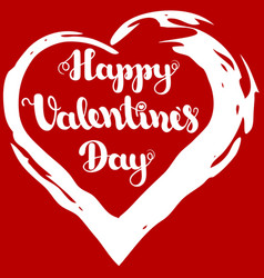 lettering happy valentines day in grunge frame vector image