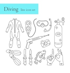 line icons with diving equipment vector image