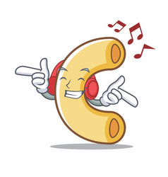 Listening music macaroni mascot cartoon style vector
