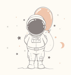 Little astronaut with orange balloon vector