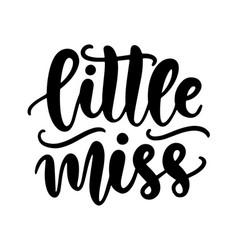 little miss kids fashion t shirt design vector image