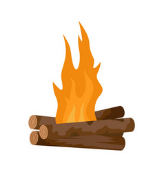 Log cabin fire icon flat style vector