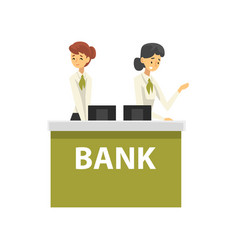 managers working at reception desk at bank office vector image