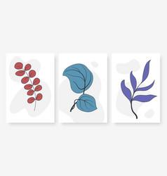 minimal wall art abstract summer plant leaf set vector image