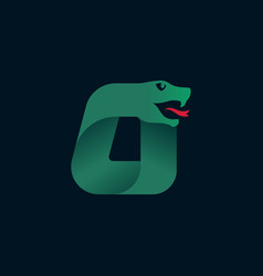 O letter logo with snake head silhouette vector