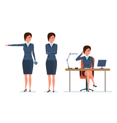 office worker communicates with clients by phone vector image