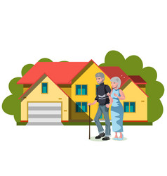 Old couple standing near house vector