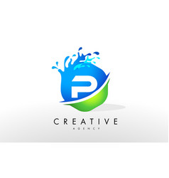 P letter logo blue green splash design vector