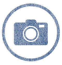 Photo camera rounded fabric textured icon vector