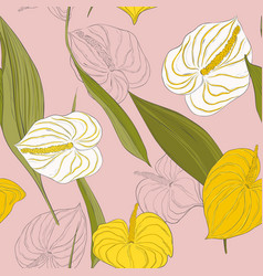 seamless kala pattern with light yellow and white vector image