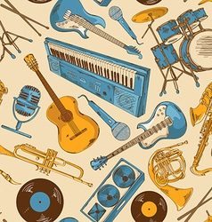 seamless pattern colorful musical instruments vector image