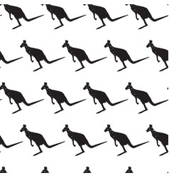 seamless pattern with black silhouette kangaroo vector image