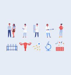 Set medical symbols on topic fertility flat vector