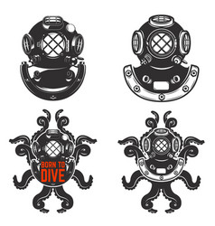 Set of vintage diver helmets diver helmet with vector