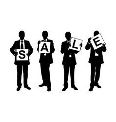 Silhouettes of men holding sale sign vector