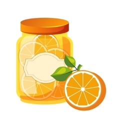 Sweet Citrus Orange Jam Glass Jar Filled With vector image