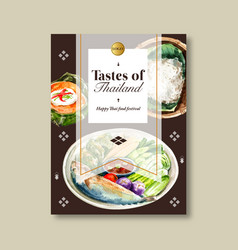 Thai food poster design with rice boiled vector