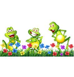 Three happy frogs in flower garden vector