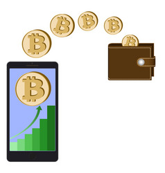 Transfer bitcoin coins from phone in the wallet vector