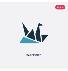 two color paper bird icon from user interface vector image
