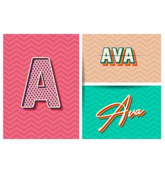 Typography name ava retro graphic design elements vector