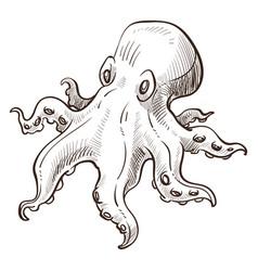 underwater animal octopus marine creature isolated vector image