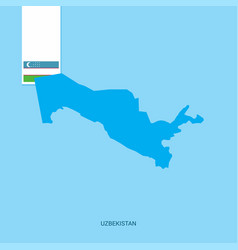 Uzbekistan country map with flag over blue vector