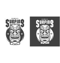 vintage monochrome surfing sport print vector image