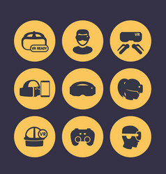 Virtual reality vr headset glasses icons set vector